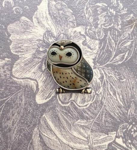 Young Owl Pin/ Pendant by Dawn Wallace Jewelry
