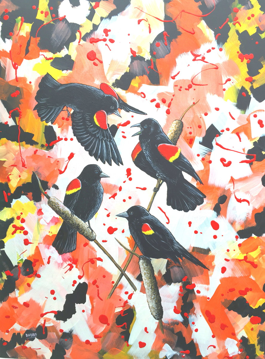 Blackbirds with Abstract (large view)