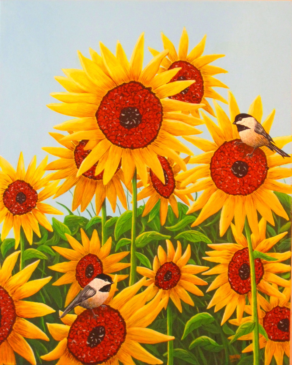 Chickadees with Sunflowers (large view)