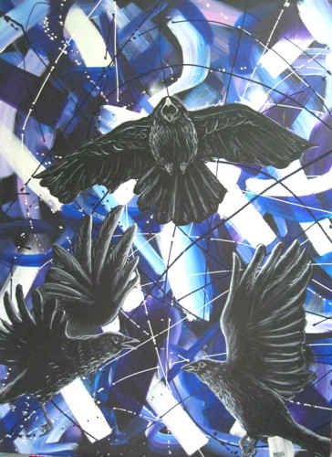 Crows with Abstract No.2 by Donald Woods