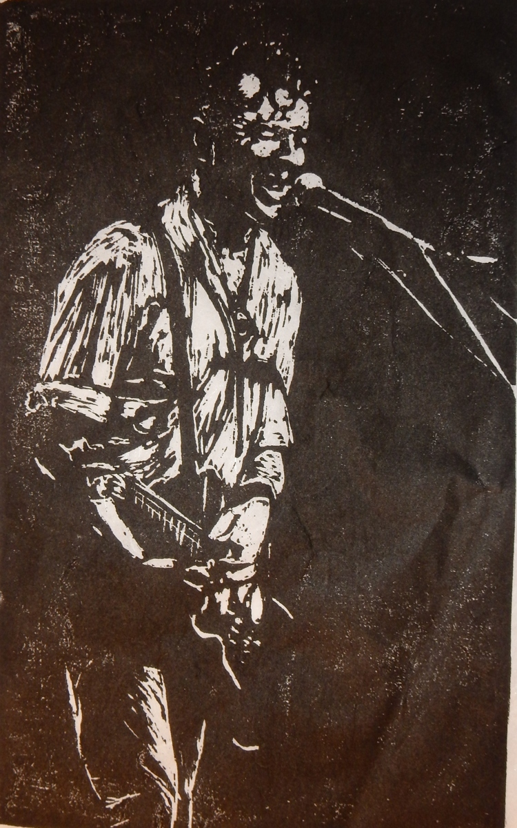 Wood block print Joe Strummer (large view)