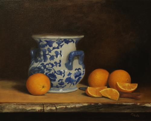 BLUE AND ORANGE by Abello Fine Art