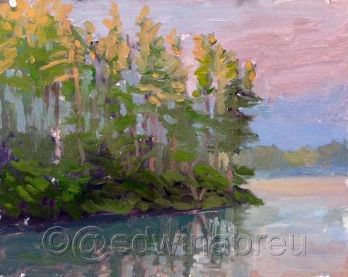 Sunrise on the lake by Edwin Abreu