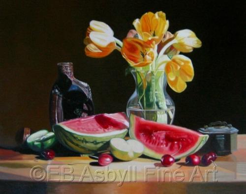 Yellow Tulips with Fruit