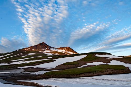 Dusk sky over Gorely Volcano
