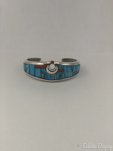 Turquoise and Coral CuttleBone Cast Bracelet by Eddie Begay