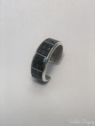 Zebra Black Jade Cuttlebone Bracelet by Eddie Begay