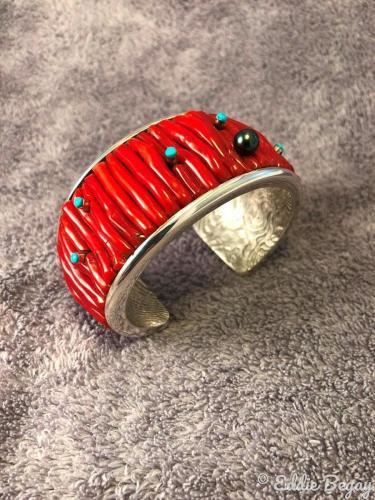 Freeform Mediterranean Coral Bracelet by Eddie Begay