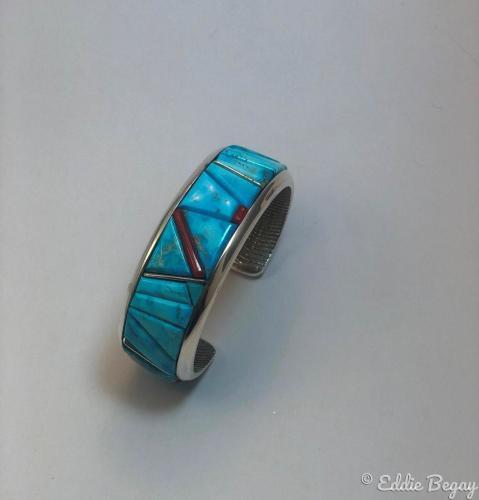 Cuttlebone Cast Inlaid Bracelet by Eddie Begay