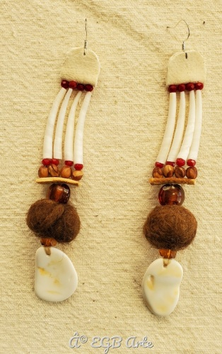 Found shell - felted wool earrings