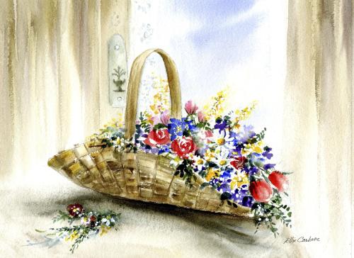 Flowers in Basket by Ellie Carbone Art