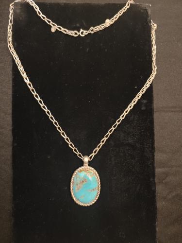 kingman Turquoise pendent by Chavez Authentic Handmade Jewelry