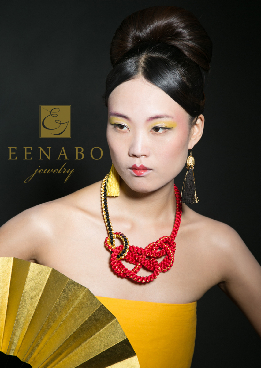 Chic Traditional Japanese Silk Hand Knitted Necklace and Earring Set, Red Kimono Obijime Necklace, Red and Gold Tassel Earrings (large view)