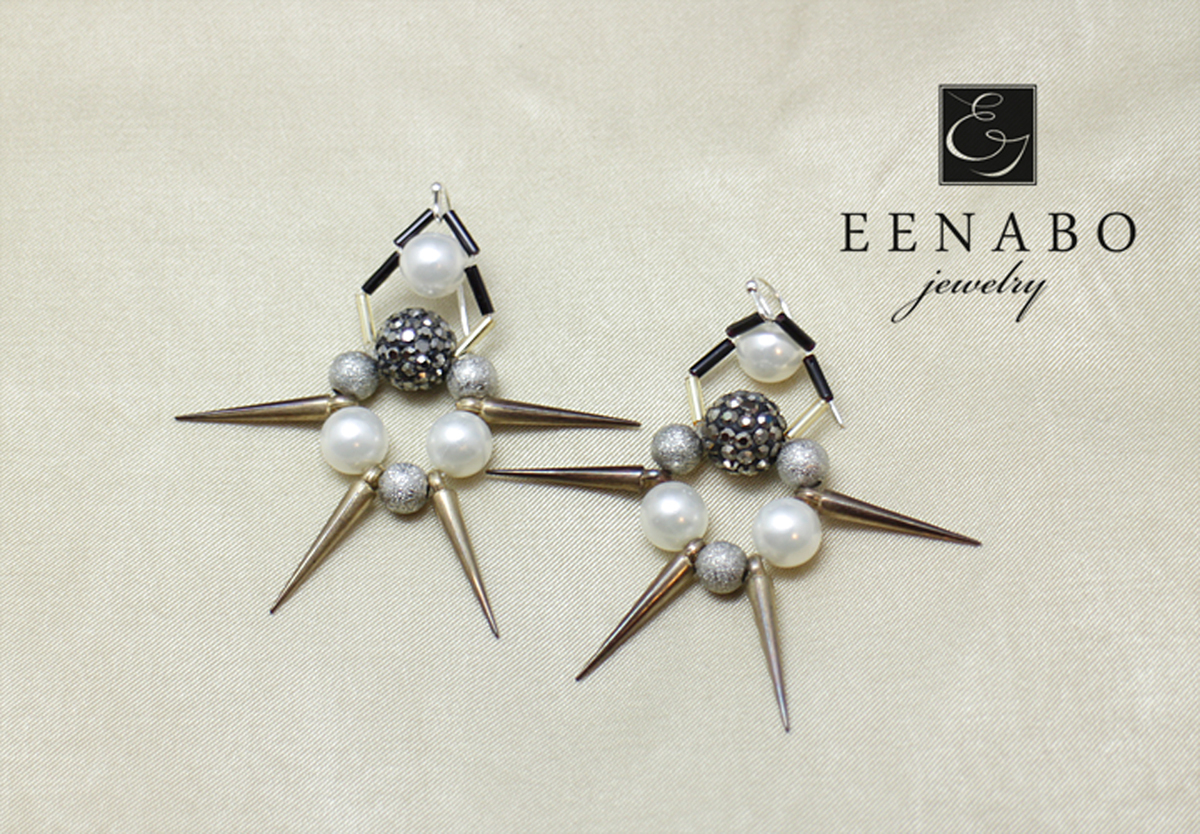 Shell Pearl Earrings with Spikes (large view)