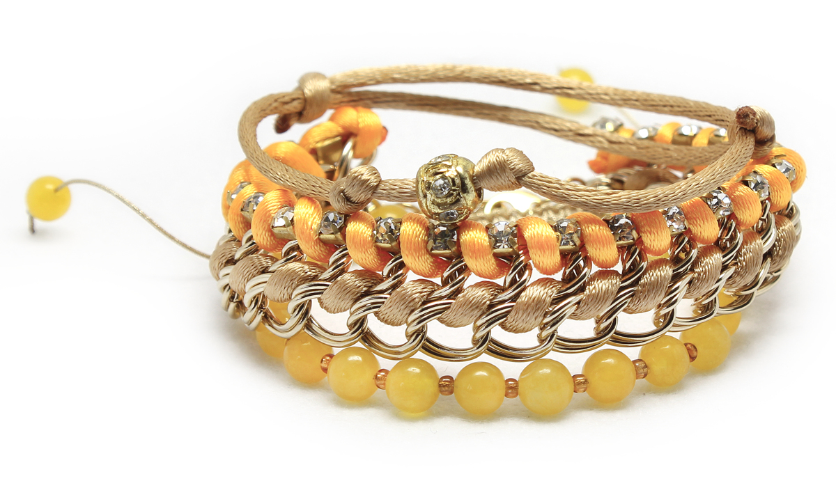 Handmade Jade Chain and Bead Stacking Bracelet in Yellow, Orange and Gold, Ethnic Stacking Gemstone Bracelets (large view)