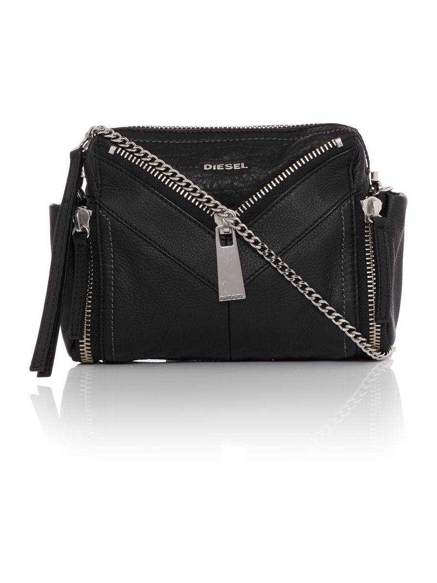 DIESEL black leather scrossbag (large view)