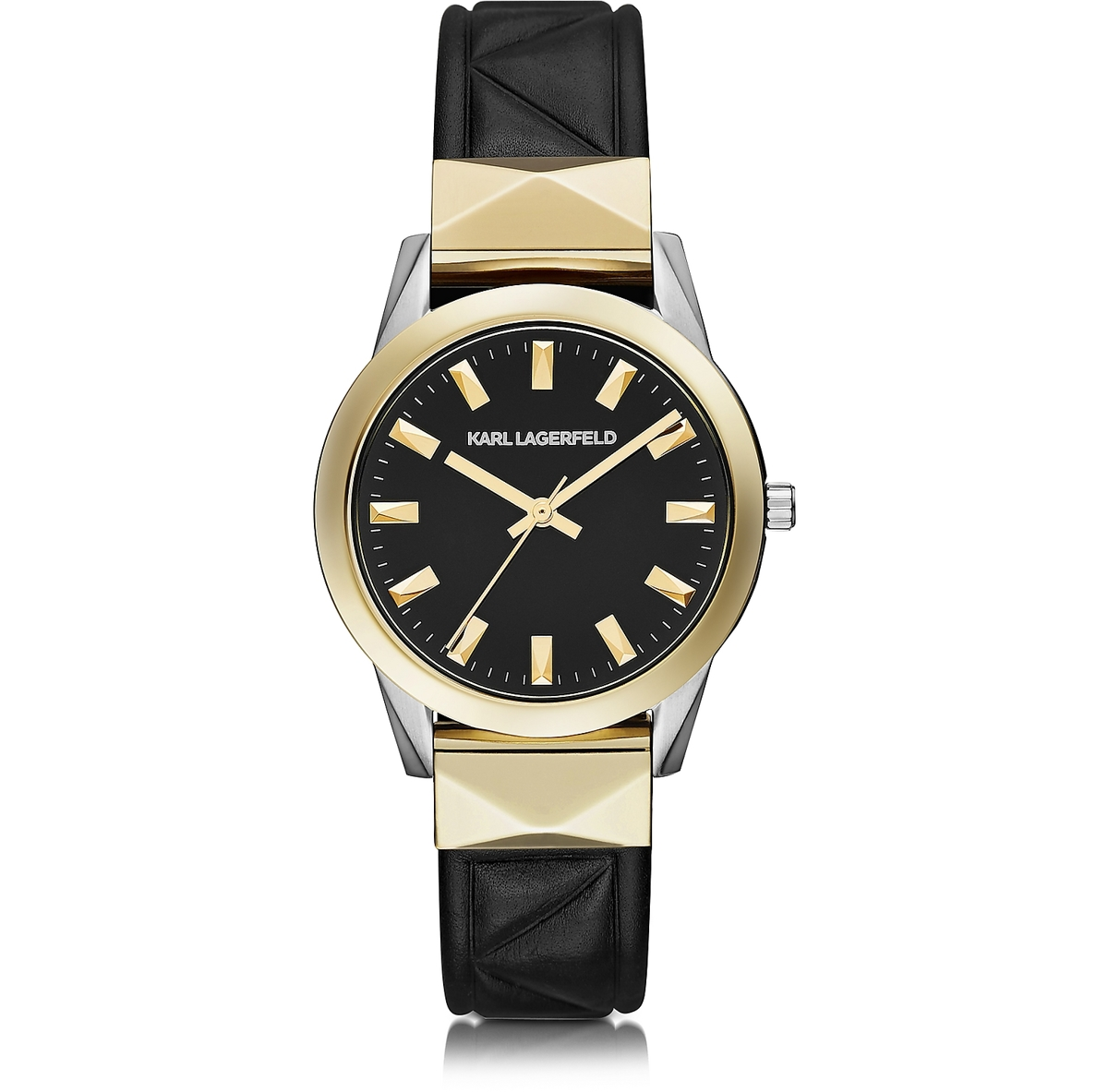 Karl Lagerfeld Labelle Stud Classic Black and Gold Women's Watch (large view)