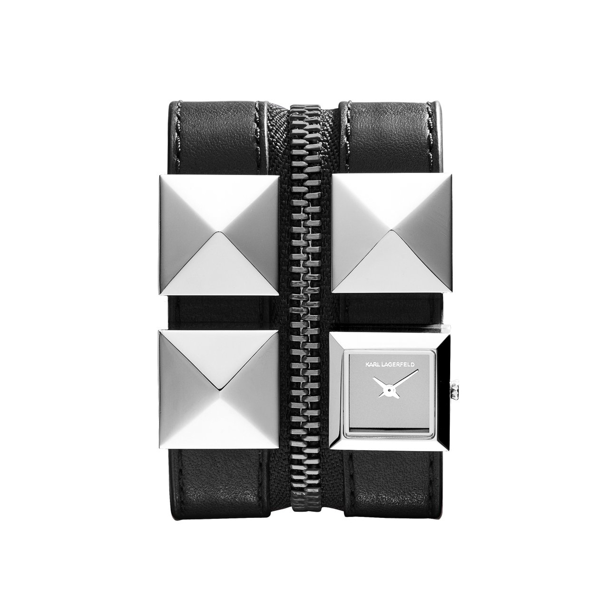 Karl Lagerfeld Women's Black Ion-Plated Stainless Steel Pyramid Stud and Black Leather Double Strap Watch (large view)