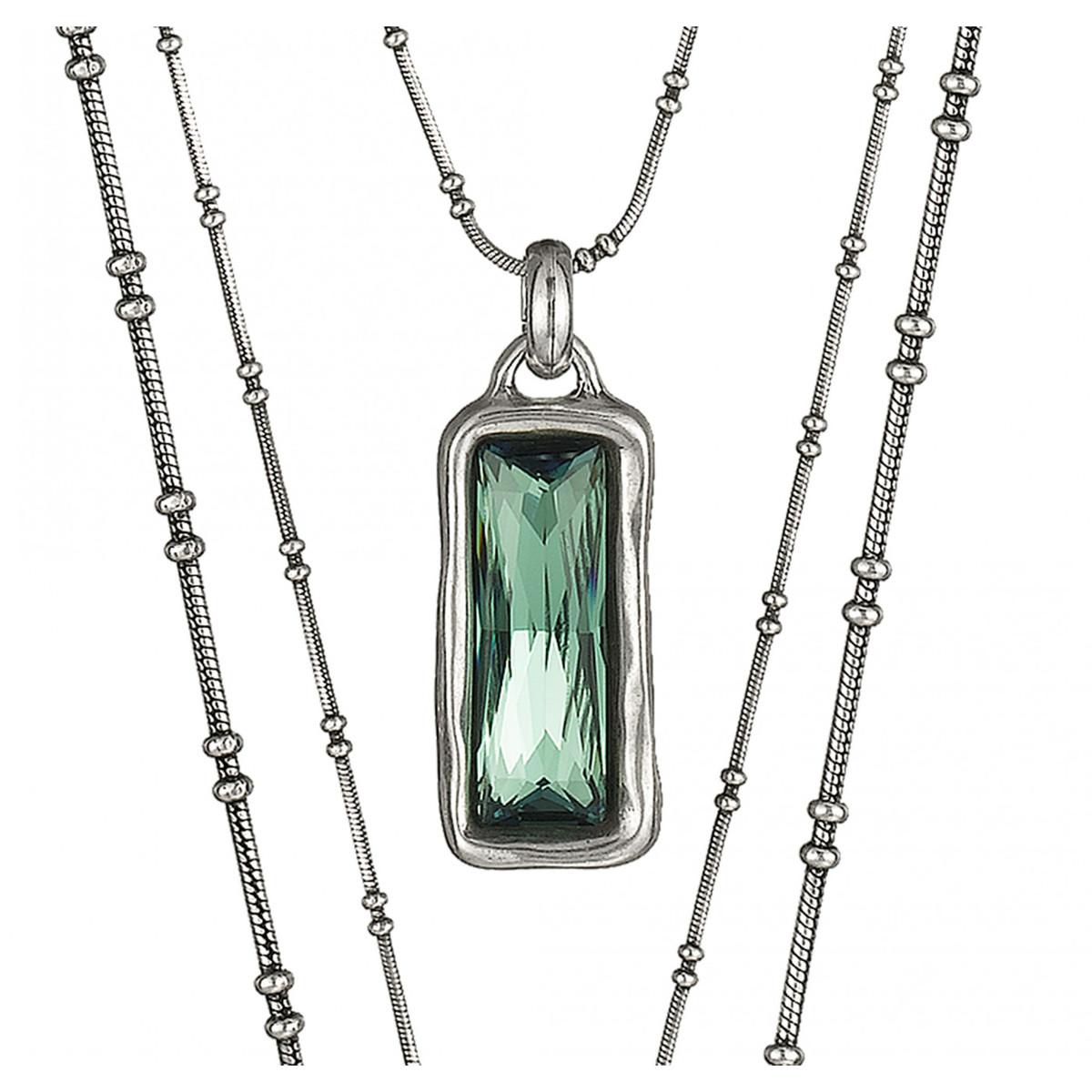 "UNOde50 Swarovski Crystal Layered Necklace ""AURORA BOREALIS"" (large view)"