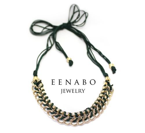 Handmade Ethnic Rhinestone Chain Necklace in Gold and Green, 2 in 1 Ethnic Necklace and Bracelet (large view)