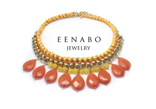 Handmade Ethnic Gemstone Chain Necklace in Yellow, Orange and Gold (large view)