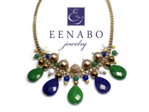 Handmade Ethnic Gemstone Chain Necklace, Jade Swarovski Pearl Statement Necklace (large view)