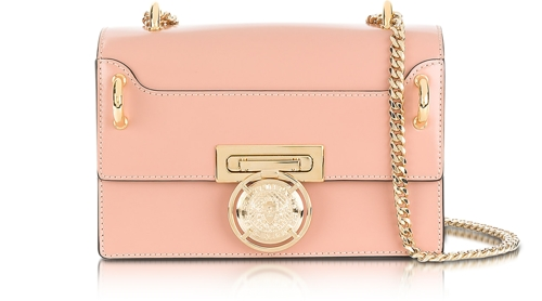BALMAIN B.Box 20 Powder Pink Glossy Leather Flap Bag (large view)