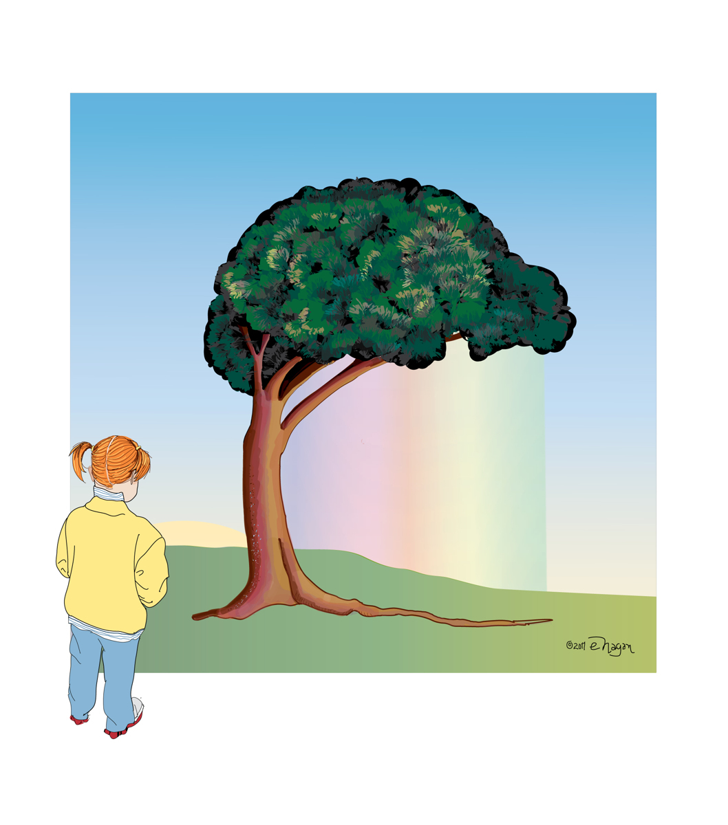 GIRL WATCHING RAINBOW TREE (large view)