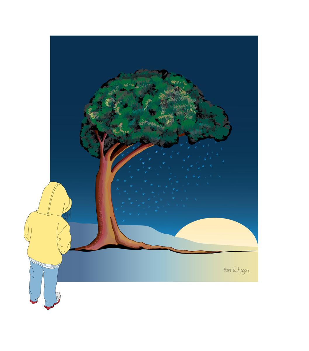GIRL WATCHING NIGHT TREE (large view)