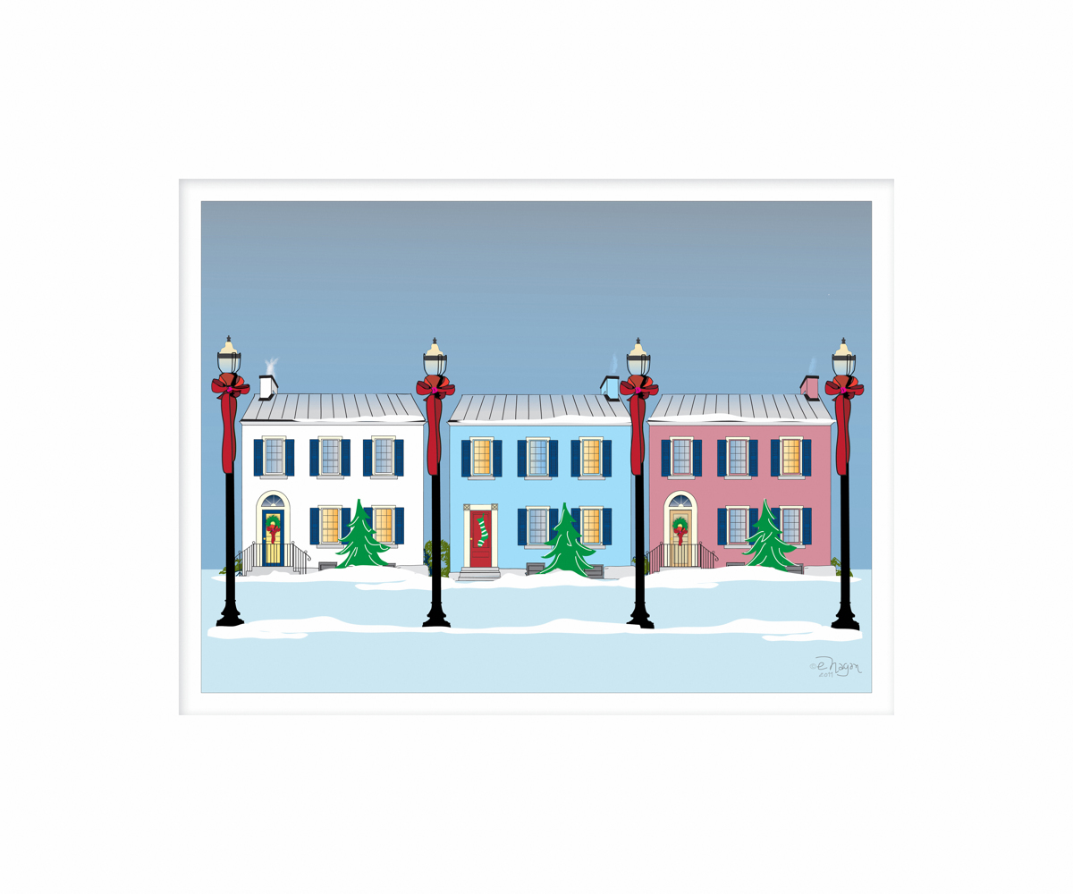 3 Christmas Townhouses PRINT (large view)