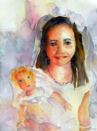 Girl with Bride Doll