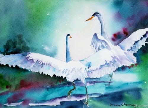 Storks on Dock I