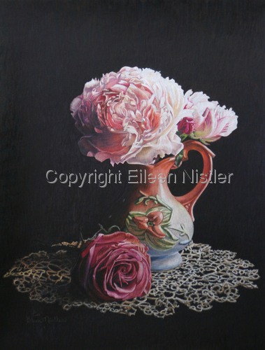 Peonies, Rose and Tatted Lace (large view)