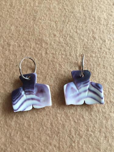 Whale Tail Earrings by Elizabeth James-Perry Original Wampum Art