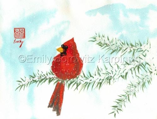 Cardinal on Pine Branch