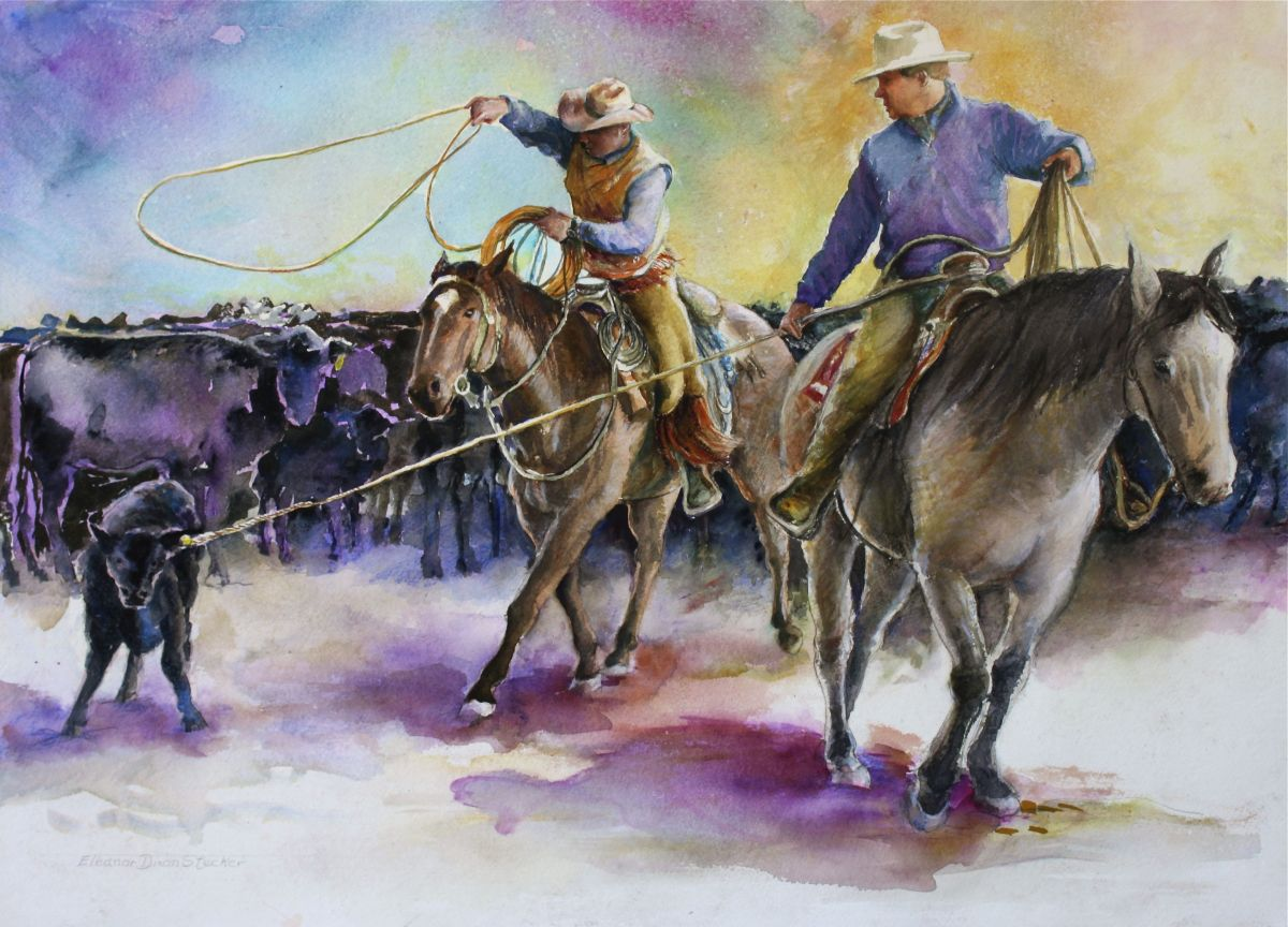 Two cowboys rope calf for branding (large view)