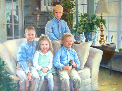 This is a large oil painting of a family of children. Artist created reference photos. (large view)