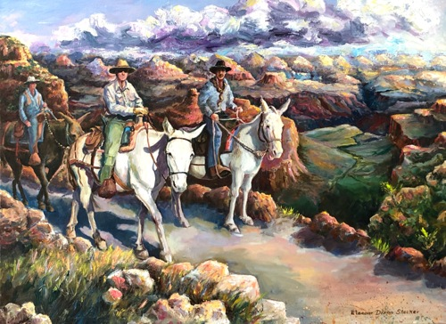 Riding mules At Grand Canyon National Park by Eleanor Dixon Stecker