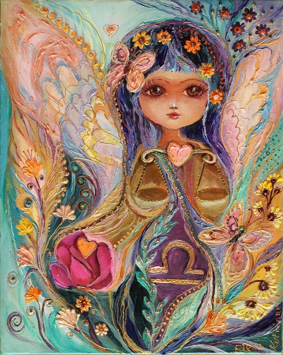 The Zodiac Fairies series: Libra. Superb quality art nouveau canvas print (large view)