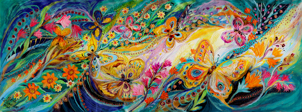 The dance of butterflies. 88 inches wall hanging (large view)