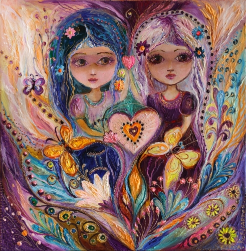 The Zodiac Fairies series: Gemini. Superb quality art nouveau canvas print