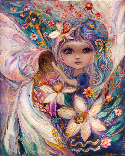 The Zodiac Fairies series: Aquarius. Superb quality art nouveau canvas print