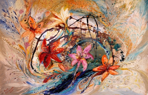 Splash Of Life #17. The Humming-bird and exotic flowers