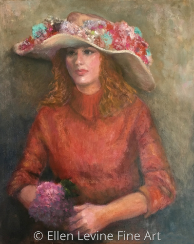 Girl in very large hat
