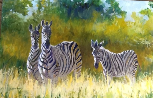 Framed oil painting of family of zebras in their natural habitat (large view)