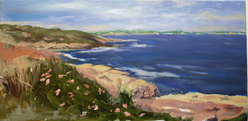 Beach Roses at Beavertail Light by Elizabeth Breakell