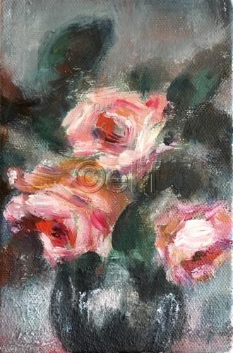 Pink Roses Black Vase