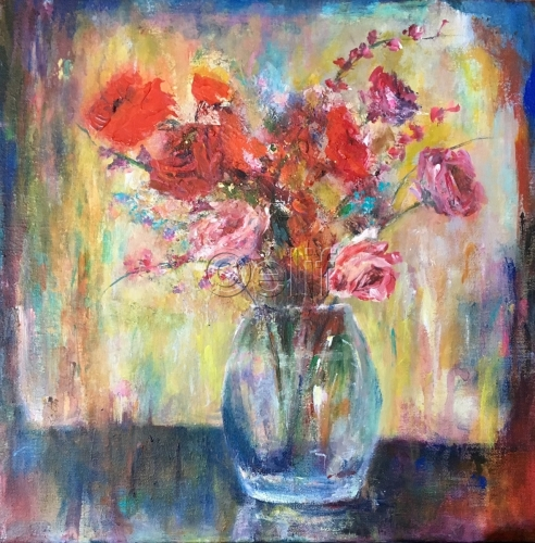 Red Flowers in Glass Vase