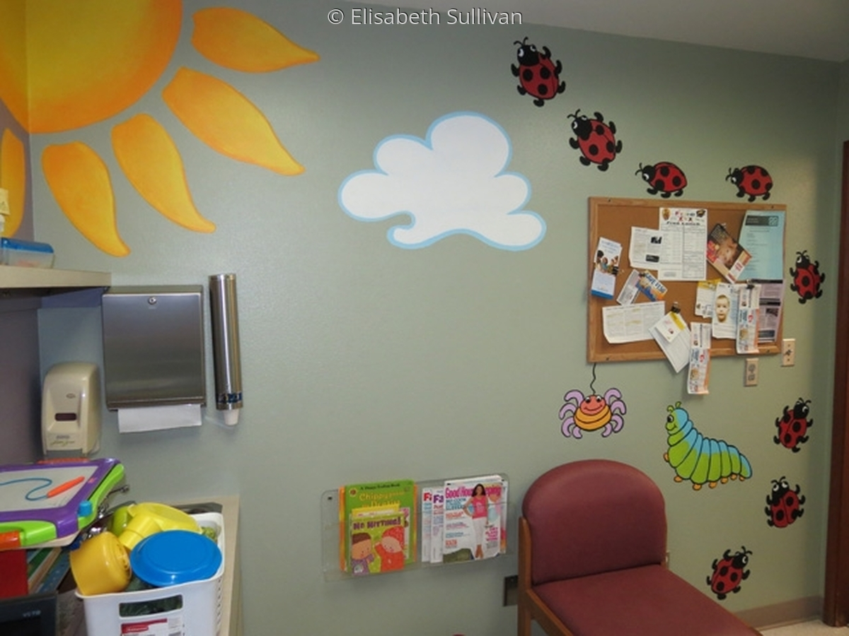 Mural for Pediatric exam room with bugs, butterflies, ladybugs (large view)
