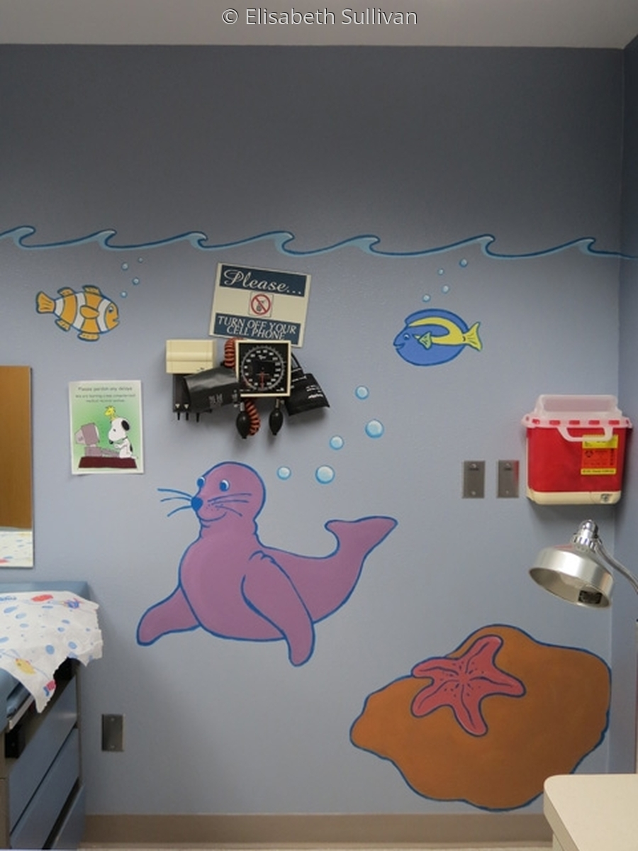 Cute ocean animal mural for pediatric exam room (large view)